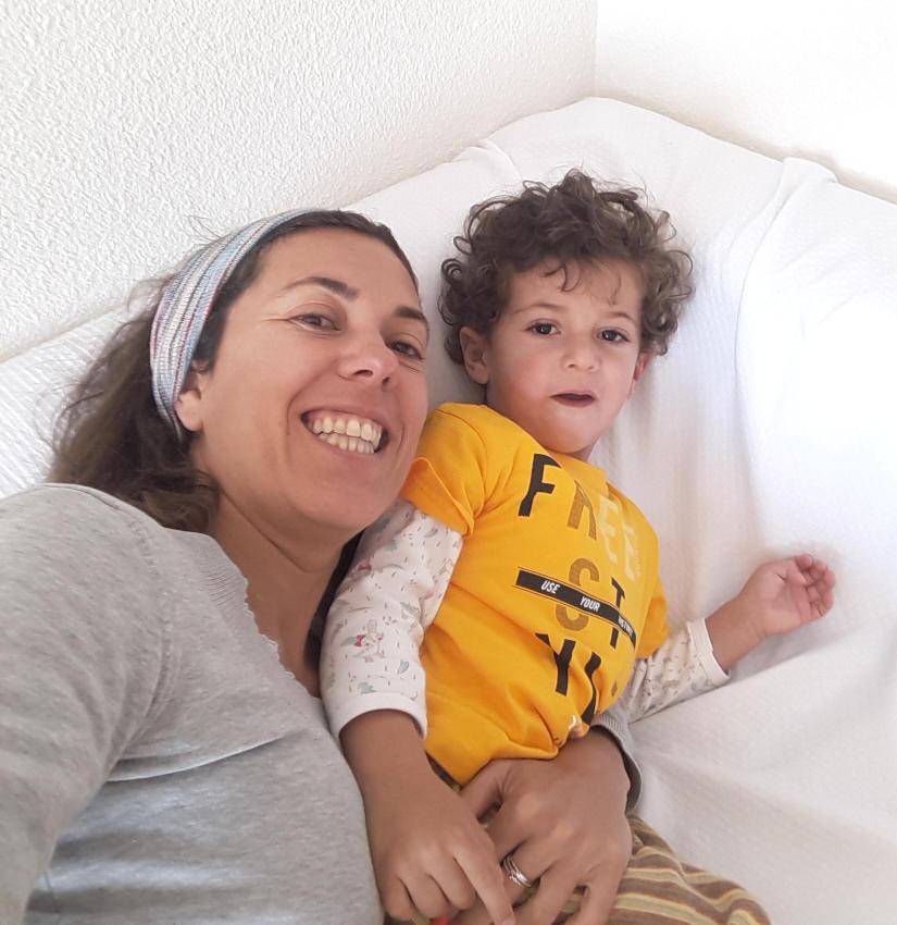 Patricia Bartolomé con su hijo
