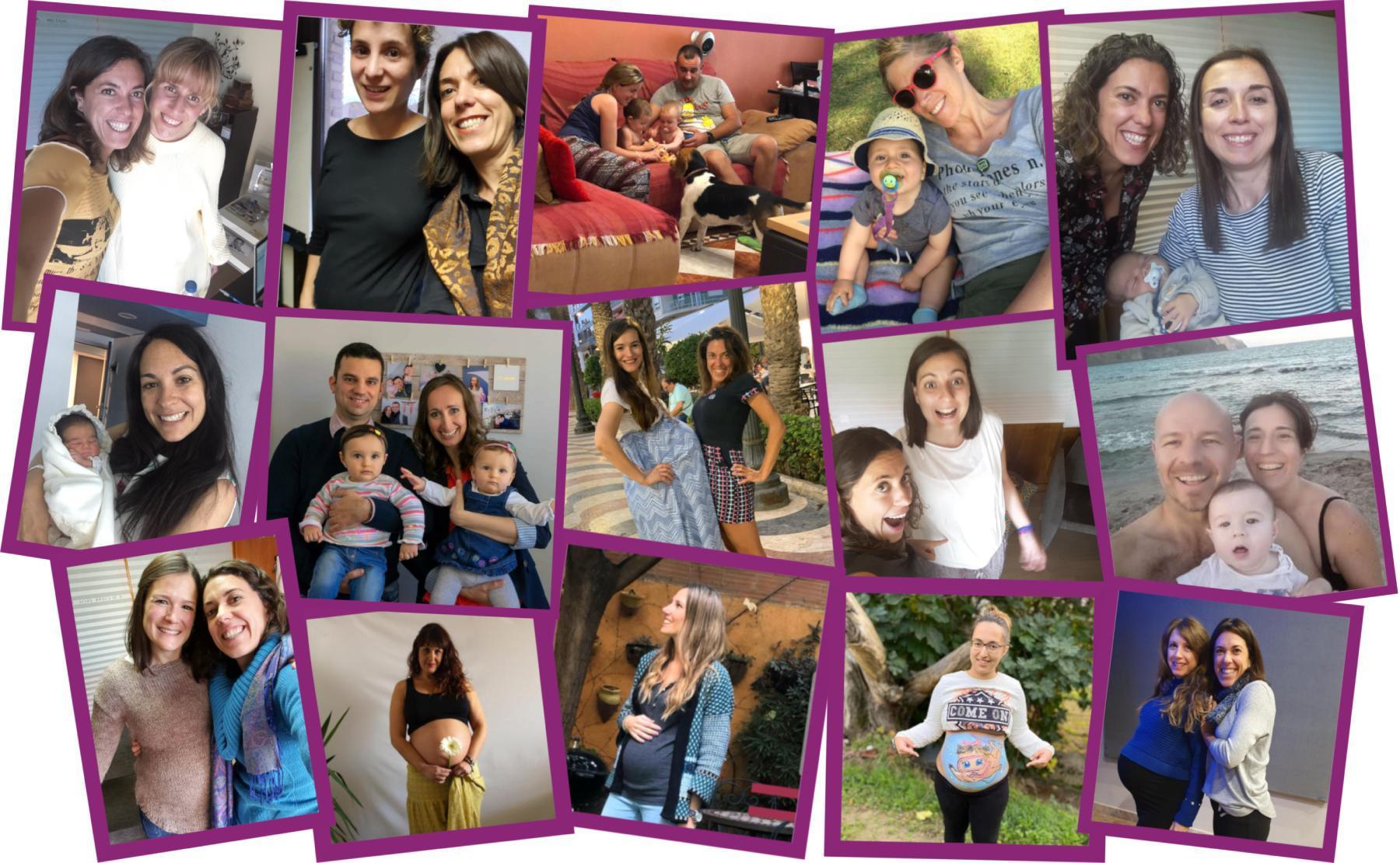 Collage de mujeres embarazadas o con el bebé